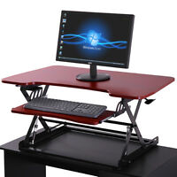 Adjustable Height Stand Up Desk Computer Workstation Lift Rising Laptop Red