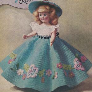 5e1aed705 Vintage Crochet PATTERN to make 7-8-inch Doll Clothes Dress Hat ...
