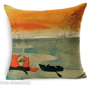 2-FOXES-by-a-BOAT-Cotton-Linen-Canvas-New-CUSHION-COVER-Natural-Classic-Case-UK