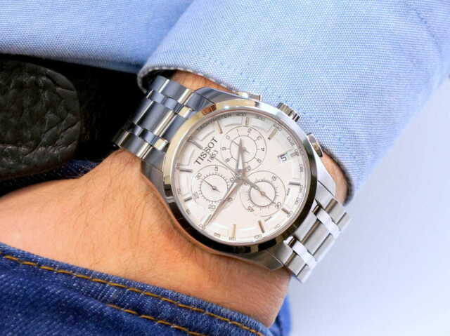 TISSOT White Dial T0356171103100 Couturier Swiss Quartz Chronograph Mens Watch ✅