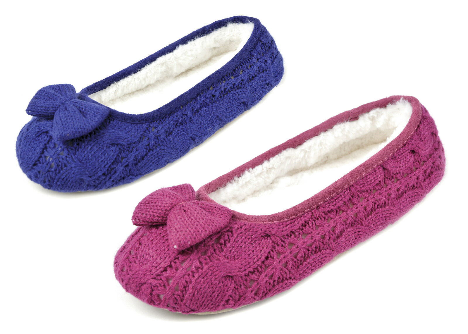 LADIES GIRLS KNITTED BALLERINA BOW FUR SLIPPERS PINK BLUE Size 3/4 5/6 7/8