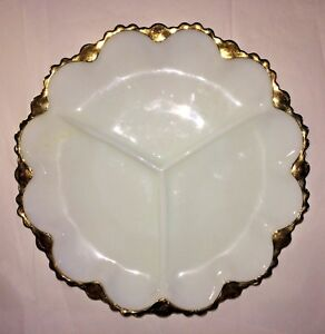 Vintage-Serving-Dish-White-with-Gold-Trim-3-Sections-Milk-Glass-9-3-4-034-Wide