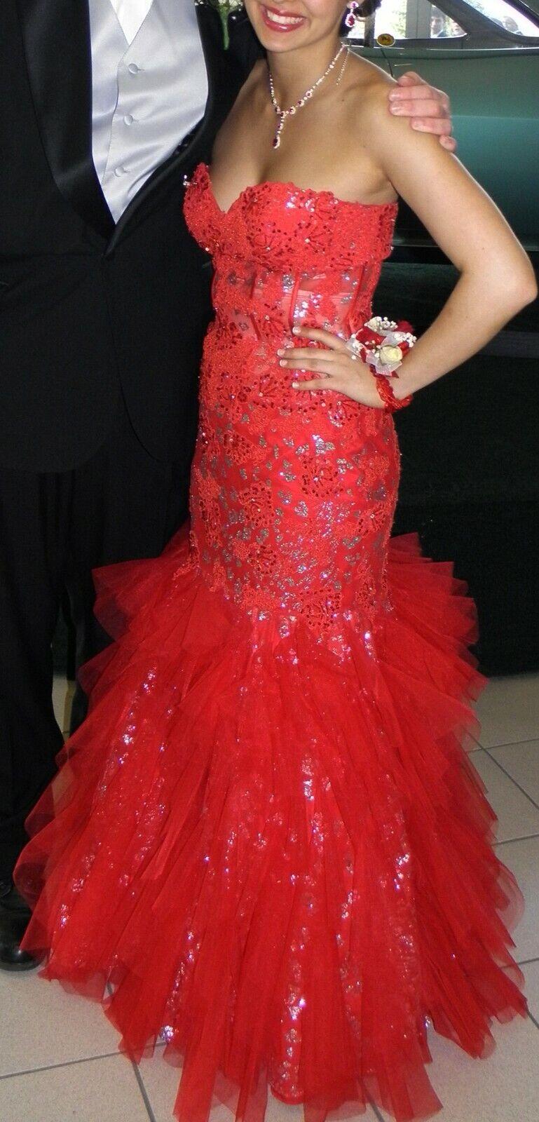 Red Jovani sz 6 prom dress PLUS Matching JEWERLY Must SEE!!