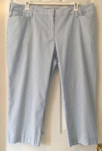 24W Crop Pants Seersucker Blue White Mid Rise Fit 2 22W LANDS/' END Plus 20W