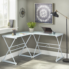 Mainstays Atrium Metal And Glass L Shaped Corner Computer Desk Frosted White Gl