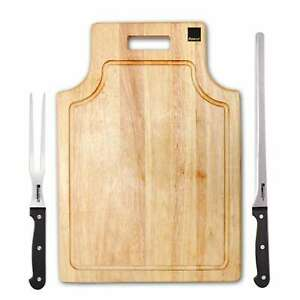 Ronco Carving Board Set, With Drip Catch Stainless Steel Carving Knife and Fork