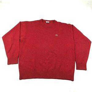 Lacoste-Sweater-Jumper-Mens-5-Red-Wool-Blend-Crew-Neck-Knit-Long-Sleeve-Logo