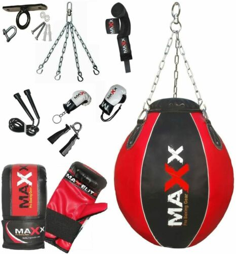 Maxx boxing Heavy Filled Wrecking ball punch bag set FREE CHAIN bracket mitts