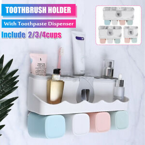 Family-Toothbrush-Holder-Shower-Shelf-Bathroom-Toothpaste-Dispenser-Storage-Rack