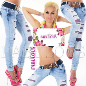 New-Women-039-s-Distressed-Ripped-Skinny-Leg-Jeans-Size-6-8-10-12-14-XS-S-M-L-XL