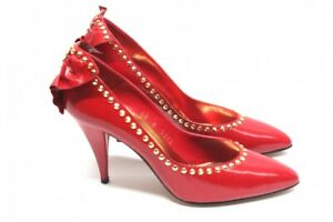 Beverly-Feldman-Pumps-High-Heels-Leder-Rot-Groesse-38-1-2