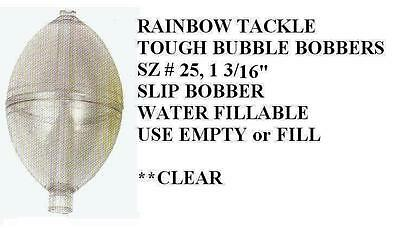 "TOUGH BUBBLE water-fillable SLIP BOBBERS 6 sz small 1 3//16/"" CLEAR Rainbow Tackl"