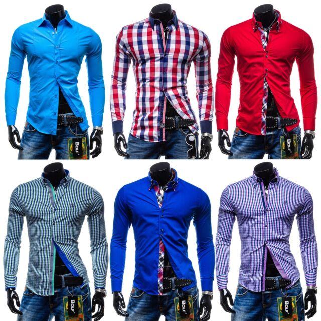 BOLF Freizeithemd Herrenhemd Langarm Shirt Men Wear Casual Motiv MIX 2B2 Polo