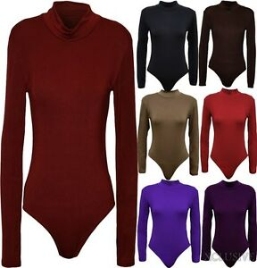Womens-Plus-Size-Turtle-Neck-Bodysuits-Long-Sleeve-Polo-Neck-Leotard-Tops-16-26