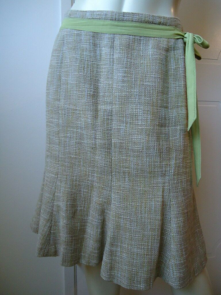 ANN TAYLOR PETITES Skirt 6P Cotton Linen Flared Lined Ribbon Tie Gored SASSY