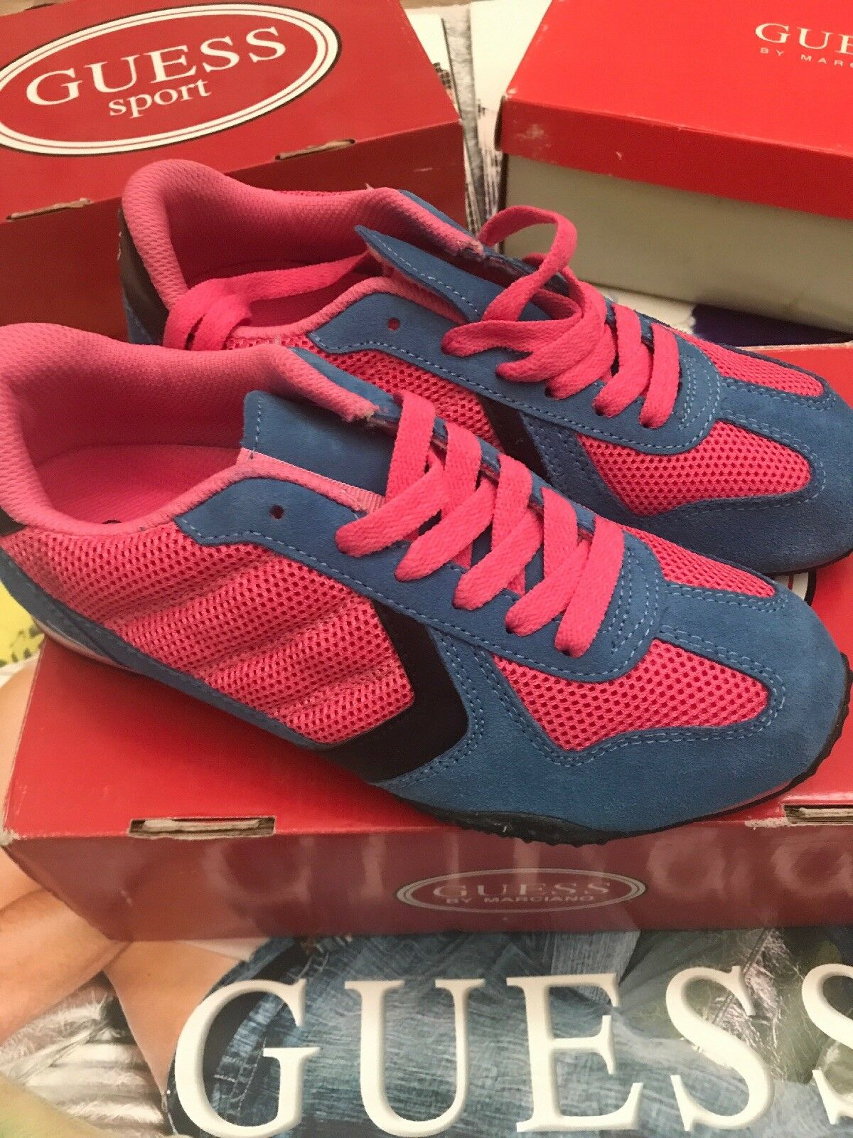 GUESS BY MARCIANO FORWARD SNEAKER-blueE PINK US 5.5 Eur 35.5