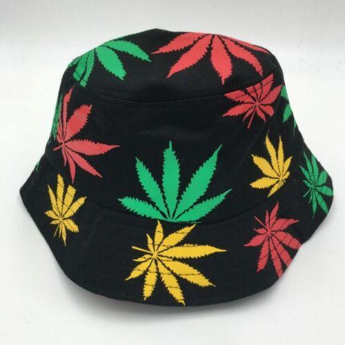 NEW Fashion Women Men Summer Rasta Bucket Hat Hip Hop Green White Colorful Weed