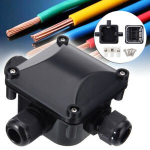 2 Way Waterproof Electrical Junction Box Cable Wire Connector IP68 Tool Black
