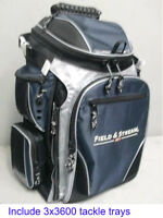 Field & Stream Angler Ts 3-360 Fishing Backpack W/ 3-360 Size Tackle Tray Boxes