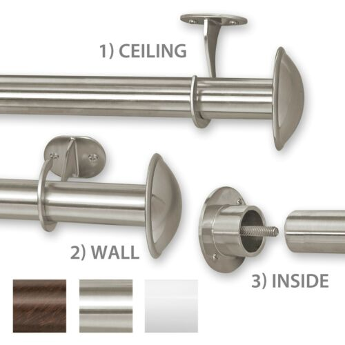 "Rings Indoor//Outdoor Curtain Rod Stainless Steel 1/"" Diameter 28-144/"" 3 IN 1"