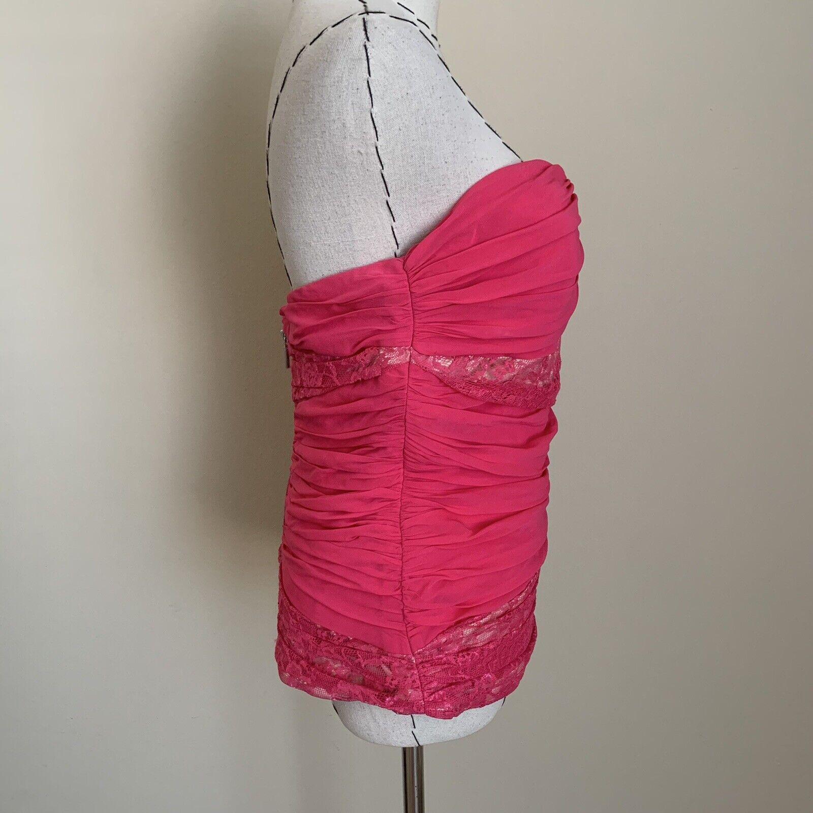 Vintage Y2K 90s BEBE Hot Pink Lace Silk Bustier C… - image 7