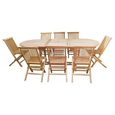V Large Oval Dbl Extending Teak Wood Indoor Outdoor Dining Table