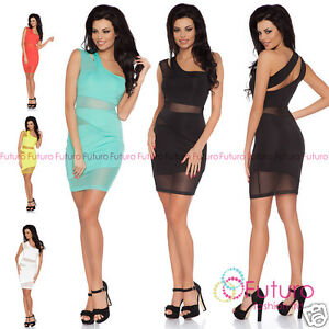 VertrauenswüRdig Party Mini Dress One Shoulder Bodycon Asymmetric Neck Tunic Sizes 8-14 Fc1433