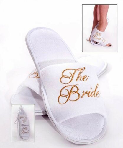BRIDE TO BE TEAM BRIDE Spa Slippers GOLD Embroidery Hen Party