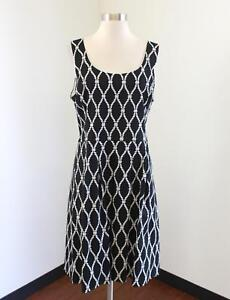 Banana Republic Black White Rope Braided Geometric Print Pleated Dress Size 14