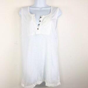 Verve-Ami-Womens-Top-Sz-L-White-Casual-Tunic-Length-Sleeveless-Summer-TX35