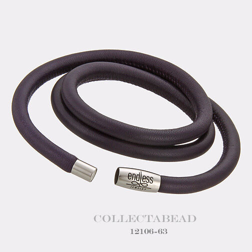 Authentic Endless Stainless Steel Purple Triple Leather Bracelet 8.0