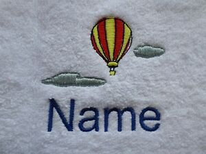 Hooded Personalised name Bath Robes HOT AIR BALLOON Embroidered onto Towels
