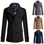 Designer Men's Slim Trench Coat Winter Warm Double Breasted Overcoat Jacket S-XL