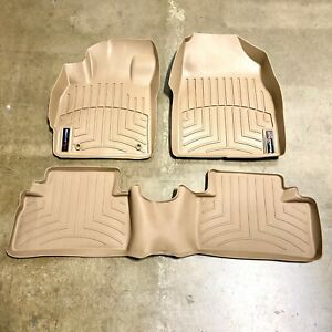 New For 12-14 Toyota Camry Floor Liner Rubber Mats Pads Kit WeatherTech Tan