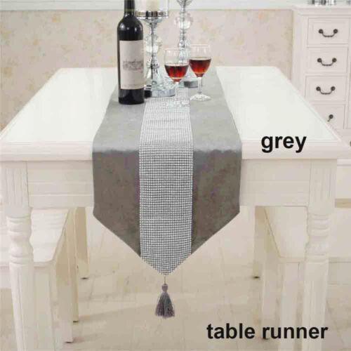 Diamante Crushed Velvet Table Runner Dining Placemat Satin Tasseled Edge UK
