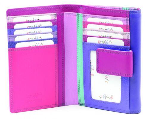 RFID Leather Multi Coloured Compartment Purse,Wallet press stud Golunski 7-125