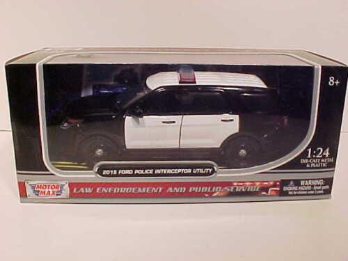2015 Ford Explorer Police Interceptor Diecast Car 1:24 Motormax 8inch Unmark B//W