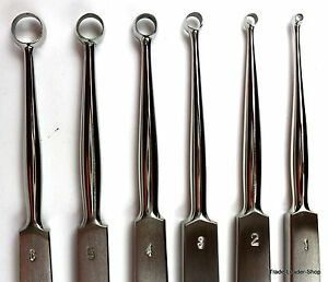 6x-Fox-Lupus-Lupuskurette-14cm-1-2-3-4-5-6mm-Skin-Curette-Dermatology-Pedicure