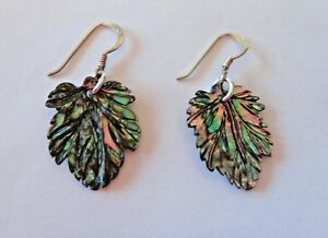 20x15mm-Leaf-shape-Abalone-Sterling-Silver-15mm-long-Wire-Earrings