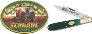 Schrade-Tractor-Up-Green-Barlow-Folding-Pocket-Knife-in-a-Collectible-Tin