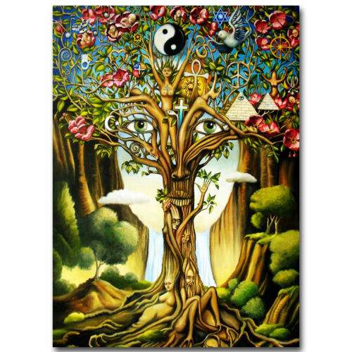 Tree of Life Psychedelic Trippy Abstract Art Silk Poster 12x18 inch