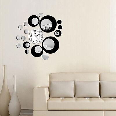Modern Circles Acrylic Mirror Wall Clock Decal Sticker Movement Decor