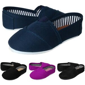 Baby-Kids-Round-Toe-Canvas-Flat-Slipper-Shoes-Black-Navy-Purple-Toddler-to-Youth