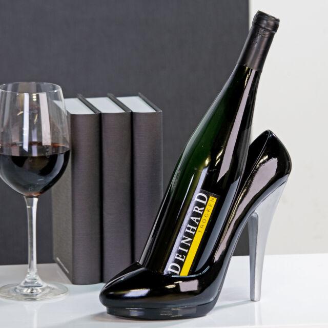 Flaschenhalter 'Pumps' schwarz/silber Höhe 20cm Geschenk für Männer Deko NEU