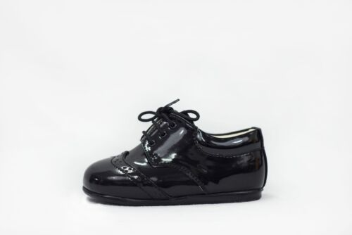Baby Boys Black Patent Brogue Shoes Formal Smart Lace Up Wedding Sizes 1-10