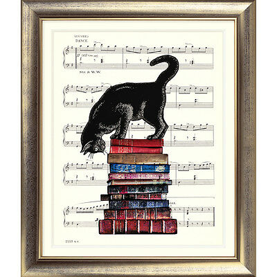 ART PRINT ORIGINAL VINTAGE MUSIC SHEET Page CAT KITTEN BOOKS POSTER Shabby Chic