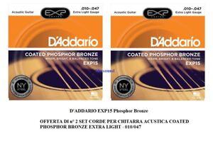 2-SET-CORDE-D-039-ADDARIO-EXP15-Coated-Phosphor-Bronze-010-047-per-CHITARRA-ACUSTICA