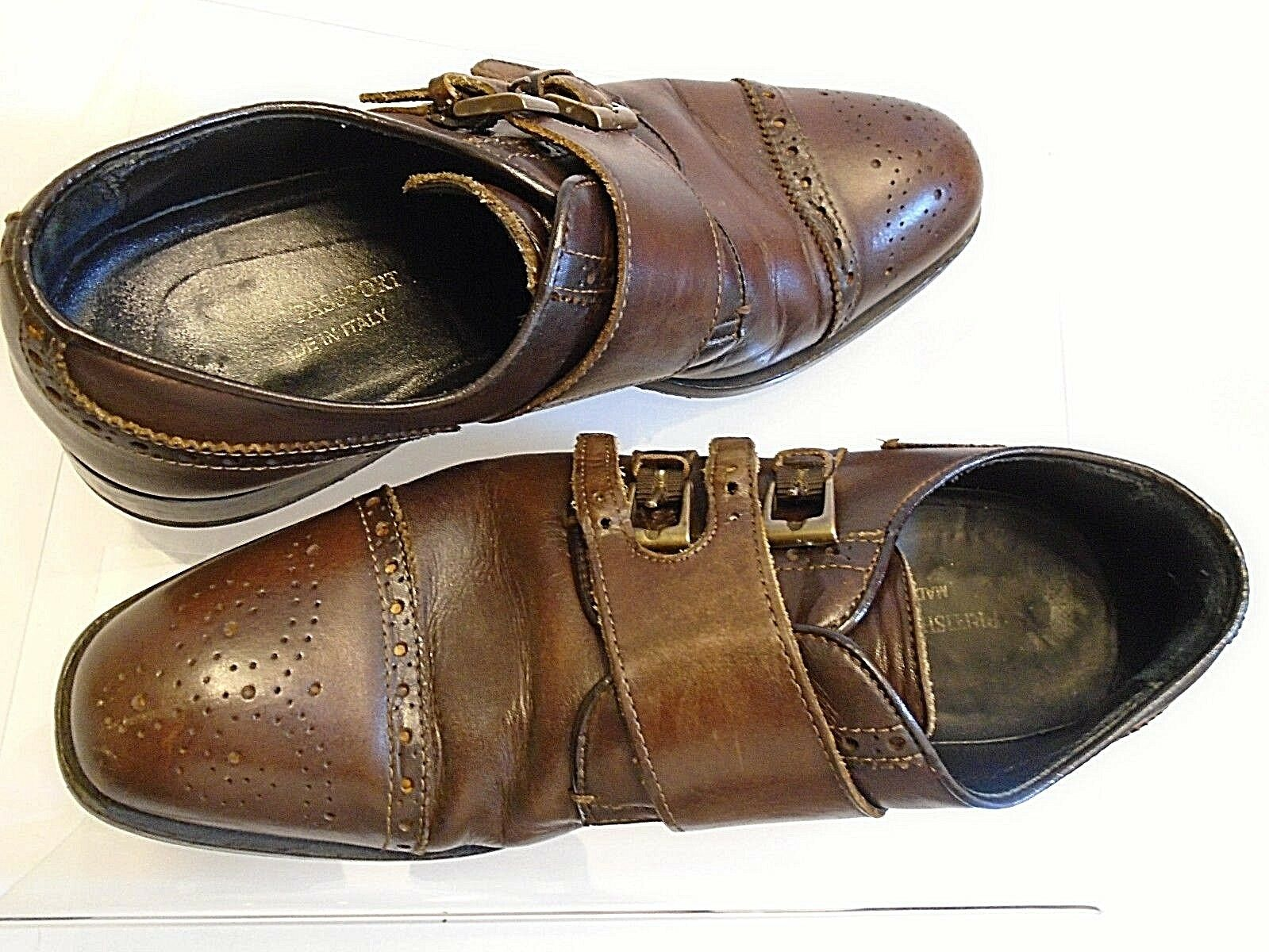 British Passport herren braun cap toe double monk strap leather schuhe Größe 40 EUR