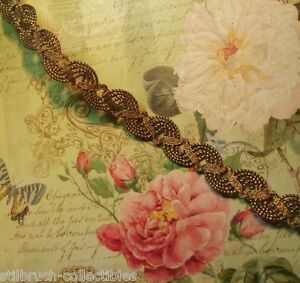 Antique-vtg-heavy-weighty-gold-bronze-metal-braid-lace-trim-lampshade-1-2-034-c1900