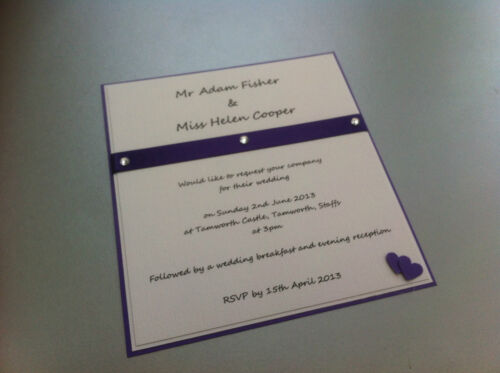Personalised//handmade Heart Themed Wedding Invitation Card with envelopes